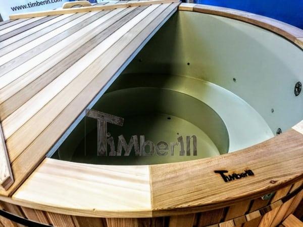 Balia z wkładem polipropylenowym i zamkniętymi ławami, w drewnie z czerwonego cedru